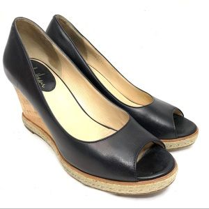 Cole Haan Black Leather Peep toe wedges Size 8B